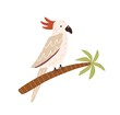 Cockatoo bird sitting on palm tree trunk. Tropical Australian parrot with red crest and long tail. Colored flat vector illustration isolated on white background