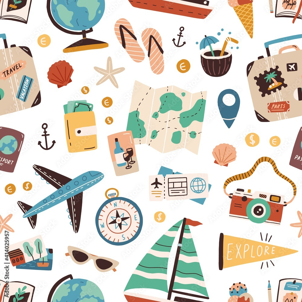 Fototapeta Seamless pattern with touristic stuff like passport, suitcase, globe, compass, plane and map. Endless texture about travel and tourism. Colored flat vector illustration isolated on white background