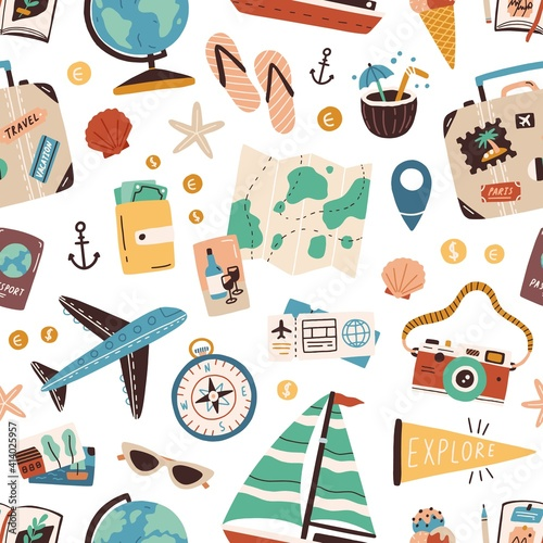 Fototapeta Seamless pattern with touristic stuff like passport, suitcase, globe, compass, plane and map. Endless texture about travel and tourism. Colored flat vector illustration isolated on white background obraz