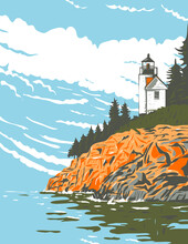 Mount Desert Island In Hancock County Off The Coast Of Maine Part Of Acadia National Park WPA Poster Art