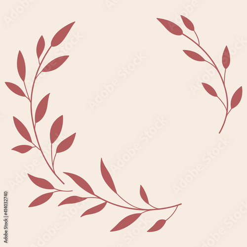 Obraz Floral Wreath branch in hand drawn style. Floral round pink and red frame of twigs, leaves and flowers. Frames for the Valentine's day, wedding decor, logo and identity template. - fototapety do salonu