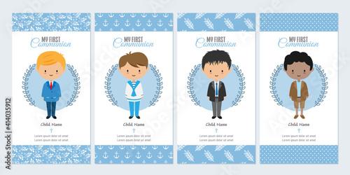 Obraz  Set of four boy first communion card - fototapety do salonu