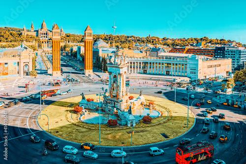 Slika na platnu Panorama  Square of Spain (Placa De Espanya),in Barcelona - capi