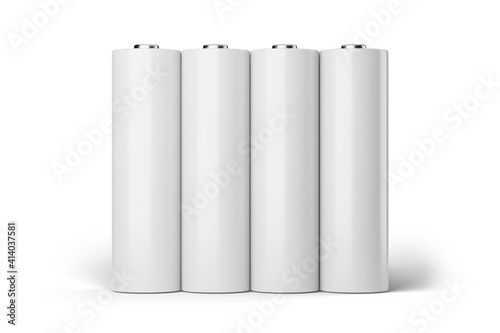 Fotografia Four blank AA batteries isolated on white background