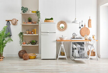 Decorative Kitchen Interior Style, Dishwasher, Refrigerator, Wooden Bench, Utensils Lamp Mirror Accessory, Bookshelf And Ornament Decoration With Chair.