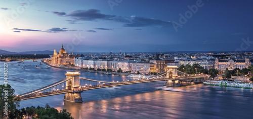 Fototapeta View on Budapest in sunset