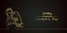 Black And Gold Happy International Women's Day With Women Line Art