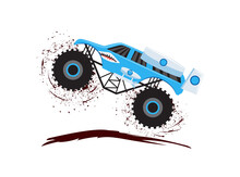 Monster Truck Jump On Dirt Road - Speed Race Vehicle With Big Wheels
