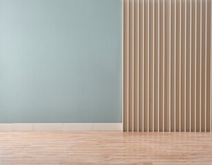 Green background with wooden wall decor with carpet and empty style.