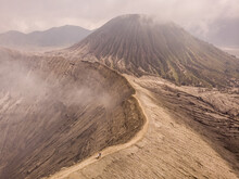 Aerial View Of Mount Bromo Crater Releasing Smoke From Magma, An Active Volcano In East Java, Indonesia.