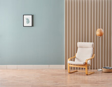 Green Room Wall Background With Chair And Frame Style.