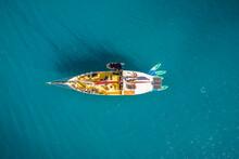 Aerial View Of A Luxury Sailing Boat Docked Off Hook Island Reef, Queensland, Australia.