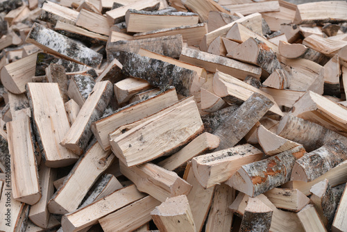 Canvas-taulu A Stack of birch firewood close up. lot