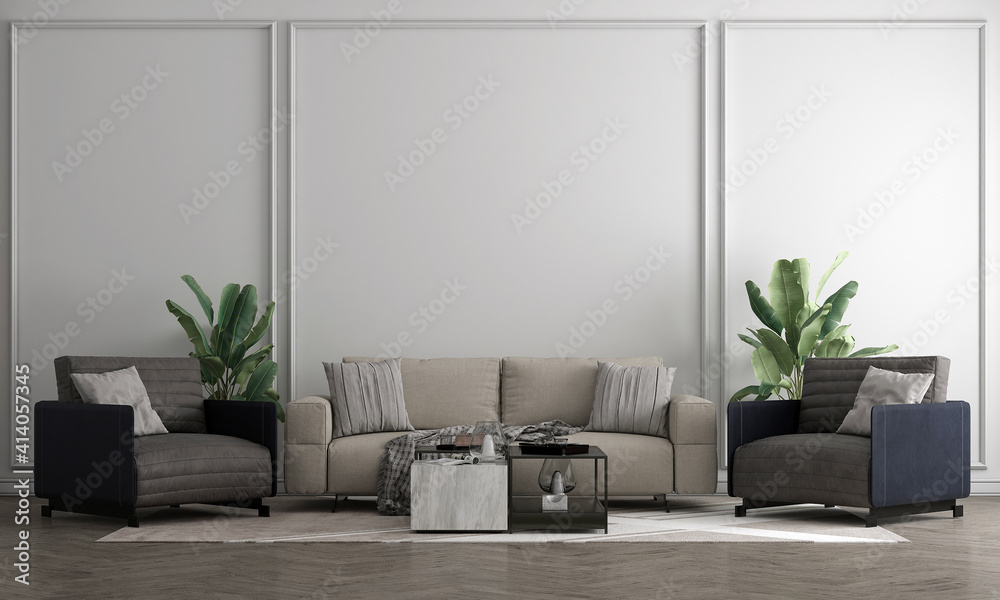 Fototapeta The Mock up furniture design in modern interior background, living room, Scandinavian style, 3D render, 3D illustration