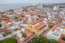 Aerial View Of Santuario De San Pedro Claver, An Elegant Historical Church With Museum In Cartagena Of India, Bolívar, Colombia.