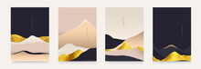 Asian Minimalist Abstract Landscape Illustrations. Set Of Hand Drawn Contemporary Artistic Templates.