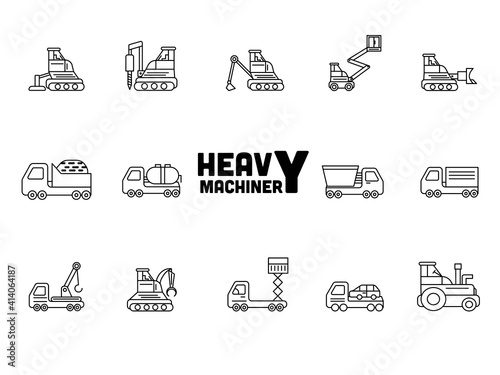 Obraz na plátně Illustration Of Heavy Machinery Icons Set In Stroke Style.