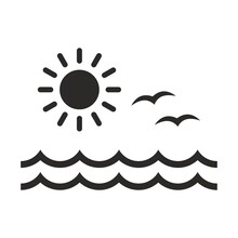 Sea Icon. Sun, Waves And Seagulls. Vector Icon Isolated On White Background.