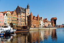 View Of Motlawa Embankment In Polish City Of Gdansk In Sunny Day