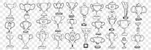 Winners Cups And Trophies Doodle Set. Collection Of Hand Drawn Golden Champion Cups Trophy For First Prize And Win In Championship Or Sport Competition Isolated On Transparent Background