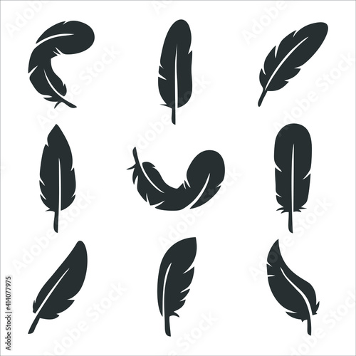 Fotomural feather icon isolated on white background