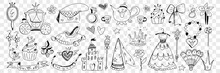 Princess Clothes And Lifestyle Attributes Doodle Set. Collection Of Hand Drawn Castle Dress Crown Cupcake Mirror Jewellery Shield Bag Teapot Bow And Decorations Isolated On Transparent Background