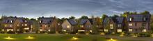 Beautiful New Homes With Solar Panels In Suburban Neighborhood. Night View