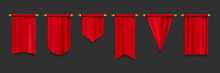 Red Pennant Flags Mockup, Blank Hanging Banners With Rounded, Concave, Pointed And Double Edges. Medieval Heraldic Ensign Templates. Realistic 3d Vector Icons Set Isolated On Transparent Background
