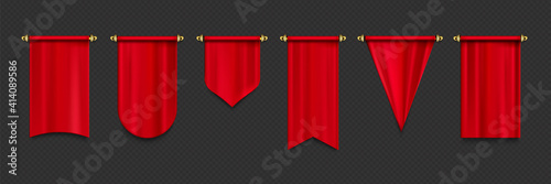 Obraz Red pennant flags mockup, blank hanging banners with rounded, concave, pointed and double edges. Medieval heraldic ensign templates. Realistic 3d vector icons set isolated on transparent background - fototapety do salonu