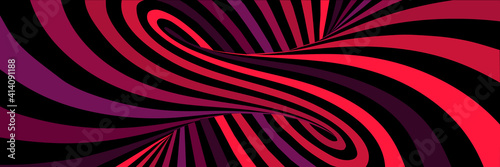 Fototapeta premium Colorful red abstract vector lines psychedelic optical illusion illustration