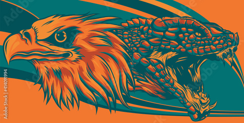 Tablou Canvas eagle fighting a snake serpent . style vector