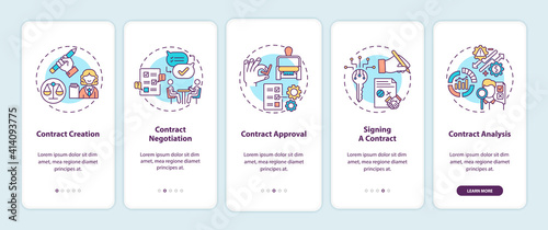 Fotografie, Obraz Contract lifecycle steps onboarding mobile app page screen with concepts