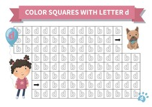Printable Game. Worksheet For Kids. Exercise About Letter Reversals D And B. Maze With Girl And French Bulldog, Page A4, Vector