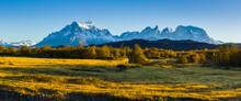 Autumn Landscape With The Paine Mountain Range In Patagonia, Chile