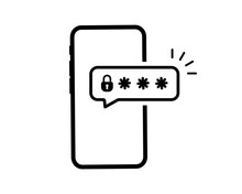 Phone Password. Password Protected Icon. Phone With Enter Password Code, Verification Security Authorization Two Step Authentication. Notification Button And Entering A Code On The Screen