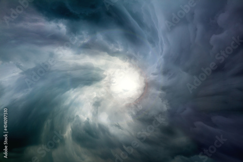 Conceptual Eye of the sky and light in the dark Wallpaper Mural