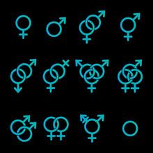 Gender Symbols Vector Outlines Icon Set