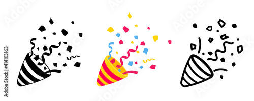 Obraz na plátne Set of Party Poppers in differents style flat, black solid pictogram and line sign