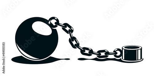 Shackles chain with weight metal ball vector concept isolated on white, concept of addiction or bad problems or debt, freedom and liberty, slavery and liberation, bad habits Fototapet