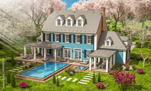 Fototapeta 3d rendering of modern cozy classic house in colonial style with garage and pool for sale or rent with beautiful landscaping Fresh spring day with a blooming trees with flowers of sakura on backgraund obraz na płótnie