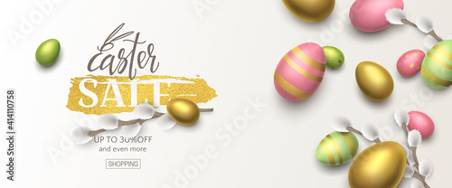 Obraz Horizontal stylish sale banner with 3d pussy willow and realistic gold, green, pink eggs. Vector festive template with text Easter sale on foil brushstroke for flyer with special offers. - fototapety do salonu