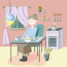 The Character Of The Grandmother In The Kitchen Sits At The Table And Rolls Out The Dough. She Sculpts Dumplings, Her Playful Cat Is Sitting Next To Her In A Bucket. Vector Illustration In Cartoon Sty