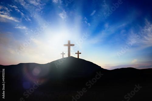 Christian croses on hill outdoors at sunrise Wallpaper Mural