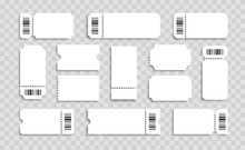 Blank Tickets Set. Realistic White Mockup Ticket With Barcodes. For Concert, Lottery, Movie And Coupon.