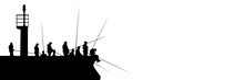 Silhouettes Of Fishermen With Fishing Rods On Pier With Lighthouse Isolated On White. Lots Of People With Long Fishing Rods With Copy Space.