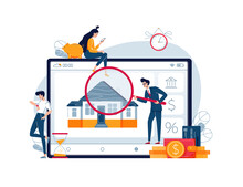Home Appraisal Process Vector Illustration. House Owners Await An Assessment Results While Inspector Is Doing Real Estate Estimation. Time Of Property Appraisal Process Concept For Banner. Flat Style