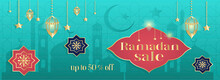 "Vector Hand Drawn Illustration - A Discount Banner For Sites And Applications On The Theme Of Ramadan. Mosque, Lanterns, Arabic Ornament And The Inscription ""Ramadan Sale"""