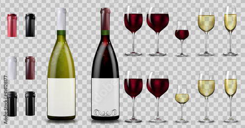Tela Red and white wine bottles and glasses. Realistic mockup