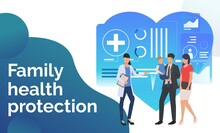 Young Family Visiting Health Center Vector Illustration