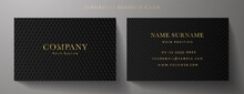 Business Card With Luxury Abstract Black Triangle Pattern (carbon Texture). Formal Premium Background Template Useful For Invitation Design, Gift Card, Voucher Or Gift Coupon